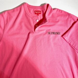 SUPREME PIQUE S/S SHIRT HENLEY PINK FW18 Spell Out